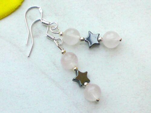 ROSENQUARZ mit HÄMATIT Stern Ohrringe Ohrschmuck Ohrhänge Edelstein Perlen 6 mm