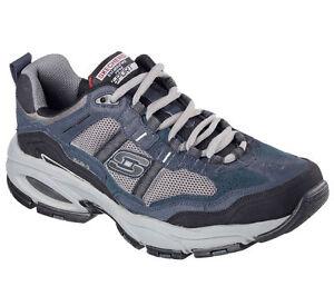 0fde40a62707 EW Wide Width Navy Gray Skechers Shoes Mens Memory Foam Sport Work ...