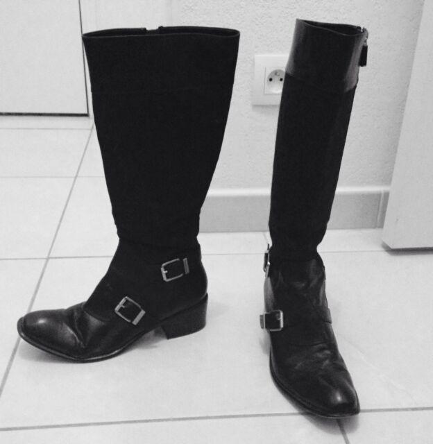 bottes en tissu et cuir noir CALVIN KLEIN taille 38 -