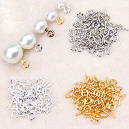 300Pcs Small Tiny Screw Eye Pin Peg Tail Jewelry Making Finding DIY Craft 8//10MM