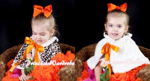 Orange Bow Baby Girl Fluff Reversible Leopard Print Petti Shawl Coat Scarf 6m-6Y
