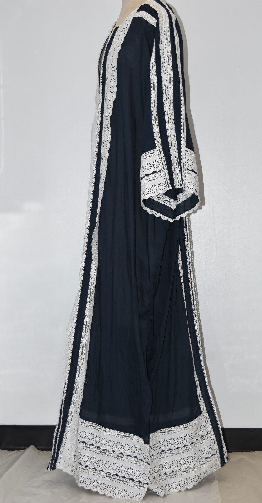 3290 New Oscar de la Renta Navy White Eyelet Lace Cotton Caftan DRESS Gown
