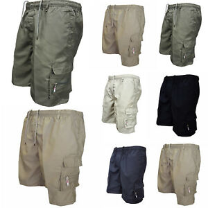 Men-Casual-Elasticated-Waist-Solid-Shorts-Pants-Cotton-Combat-Cargo-Work-Bottoms