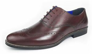 aded289226 Red Tape Mens Leather Formal Brogues Lace Up Shoes in Tan Burgandy ...