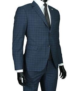 Das Bild wird geladen Slim-Fit-Herrenanzug-kariert-in-Blau-Grau-Smoking- 57a1673ec0