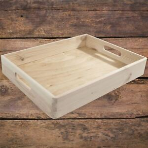 Details About Stackable Shallow Non Lidded Open Top Wooden Crate Storage Box With Handles Feet