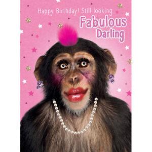 Happy Birthday Karte Für Frauen.Riesen Grußkarte Frauen Geburtstag Karte Punky Haar Schimpanse A4 Ebay
