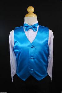 Children Teen TURQUOISE VEST + BOW TIE for Wedding Formal Suits Tuxedo Sz S-28