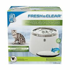 Catit Fresh & Clear Stainless Steel Top Cat & Dog Drinking Fountain, 64 fl. oz.