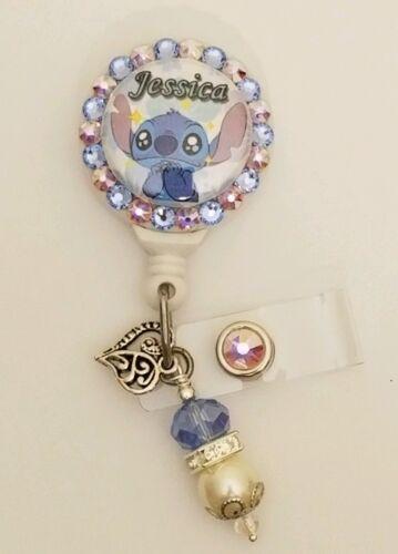 Personalized Disney Stitch card reel// id badge holder for nurses teachers...