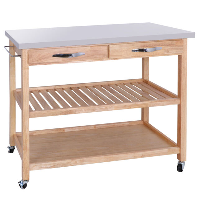 2 Shelves Drawers Large Size Wood Kitchen Island Rolling Cart Stainless Top