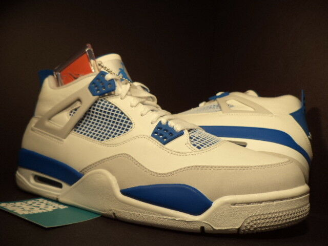 Nike Air Jordan IV 4 Retro WHITE MILITARY blueE COOL CEMENT GREY 308497-105 DS 13