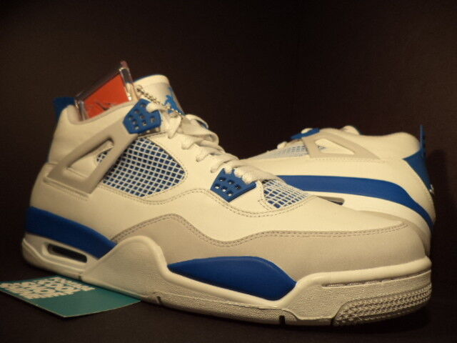 Nike Air Jordan IV 4 Retro WHITE MILITARY BLUE COOL CEMENT GREY 308497-105 DS 13