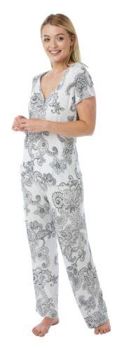 Ladies Soft Jersey Short Sleeved Pyjamas White//Black Floral Sizes 10 to 18