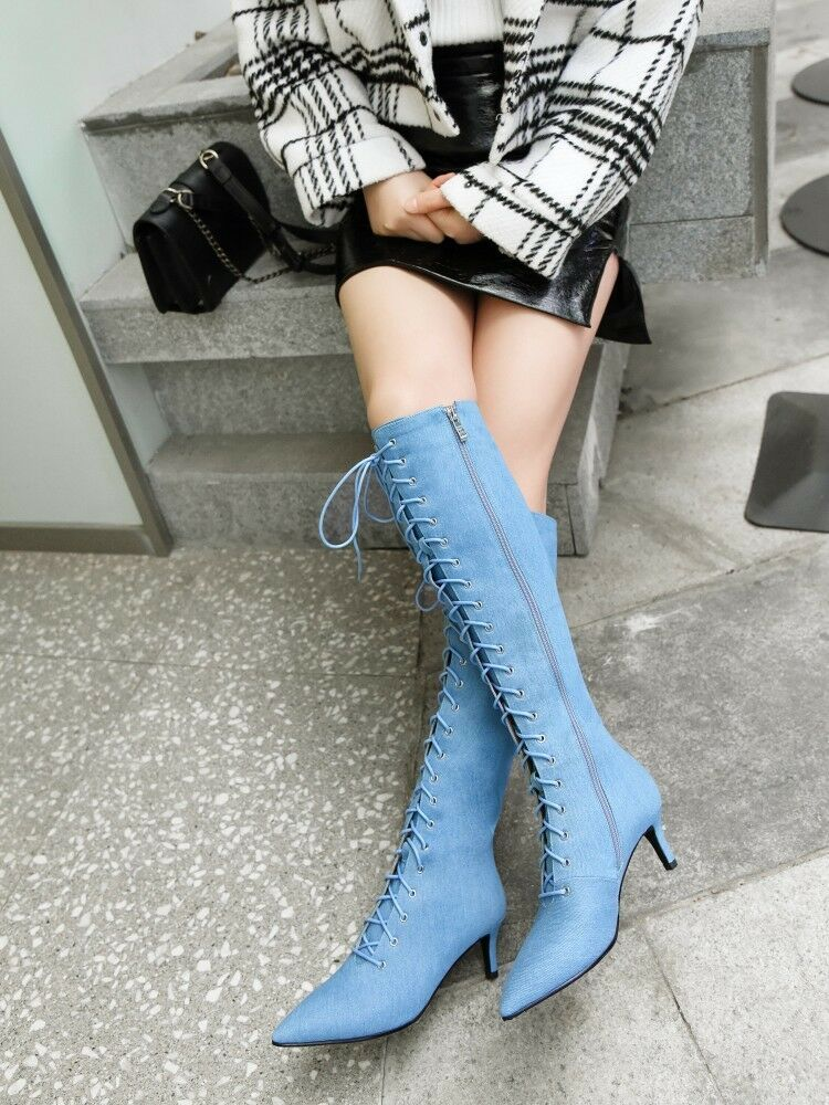 Womens Fashion Denim Pointed Toe Lace Up Kitten Heel Knee High Boots shoes XUNL