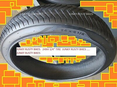 2 DURO WIDE 24 x 1.75 BIKE TIRES BEACH CRUSIER CHOPPER 4B FREE BICYCLE TUBES