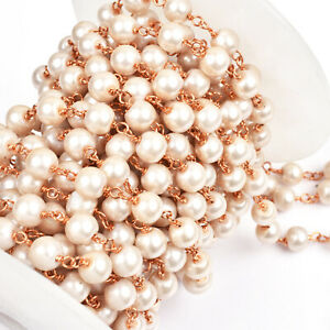3,5,10 Ft Blue Hydro and Pearl Beaded Rosary Gold Plated Chain Jewelry Making