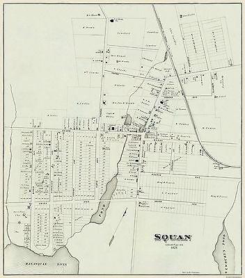 Old City Map - Manasquan New Jersey Landowner - Woolman 1878 - 23 x 26.13