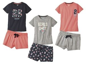 Ex M/&S Girls Sleep Tight Check Shortie Short Summer Pyjamas Age 2 3 4 5 6 7 Year