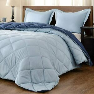 Solid Color Ultra Soft Light Weight 1800 Count Reversible Microfiber Comforter