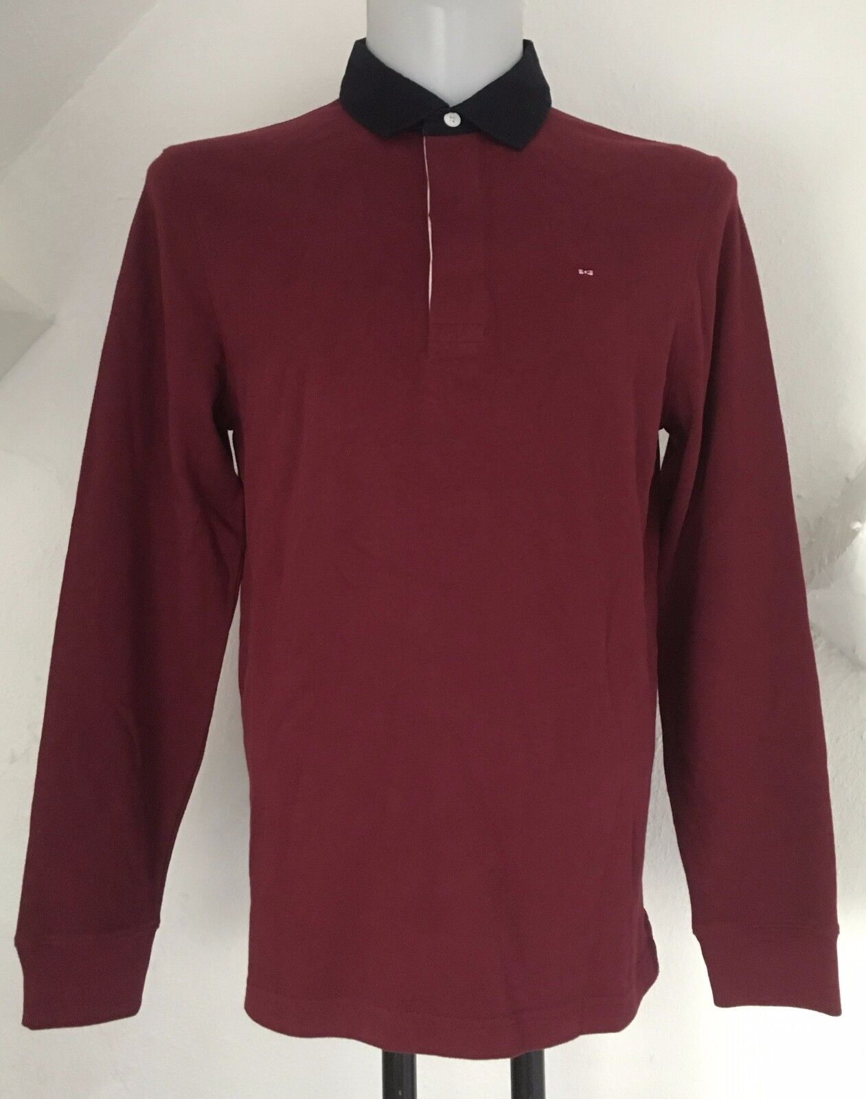 BURGUNDY L S RUGBY JERSEY BY EDEN PARK SIZE MEN'S MEDIUM BRAND NEW WITH TAGS
