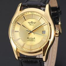WINNER Dress Wrist Watch Luxury Gold Automatic Mechanical Calendar Leather Men