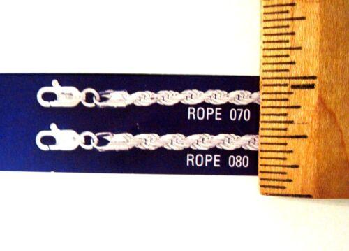 Corde Classic 2.8 mm /& 3.5 Mm Sterling Chaîne /& bracelets .925 Argent Pur