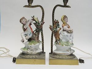 Pair Of Antique Porcelain Figurine Table Lamp Made In