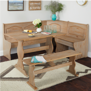 Details About New 3 Piece Natural Wooden Corner Nook Dining Room Table Bench Set W Storage