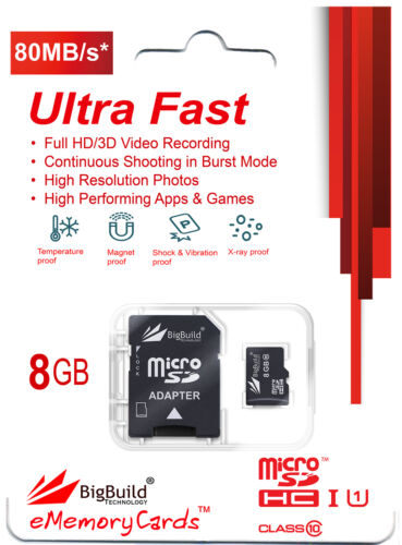 8GB Class 10 70MB//s MicroSD Memory card for Philips GoGear MP3 Music Player