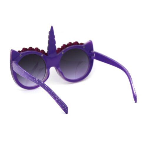 Girls Child Size Flower Trim Unicorn Kitty Ear Plastic Round Sunglasses