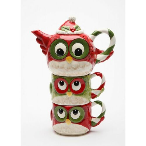 10912 Christmas Owl Totem Pole TeaforTwo Teapot Cup Mug Holiday Party Gift