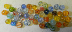 9764m Vintage Group or Bulk Lot of 45 Hybrid Cat's Eye Marbles .58 to .64 In