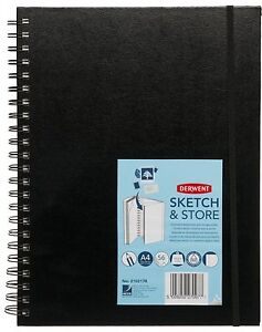 Derwent Sketch and Store A4 Portrait Hard Back Sketch Book with Storage Pocket
