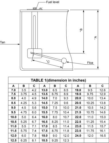 Indicatore LIVELLO CARBURANTE SERBATOIO /& Kit di unità mittente DIESEL O BENZINA FLOAT 12V Cargo 160701