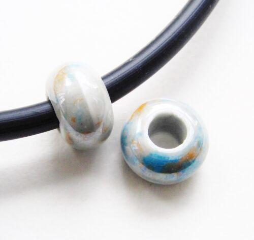 Porcelana perlas rondellen 15mm grande agujero 5 trozo de cerámica serajosy perlas