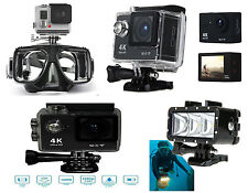 Waterproof 1080P Ultra HD 4K WiFi Action Camera + LED Diving Light + Scuba Mask