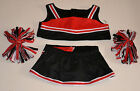 """Teddy Bear BLACK & RED Cheerleader CLOTHES Fit 14""""-18"""" Build-a-bear, !!! NEW !!!"""