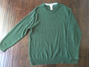 Ll Bean 100 Cotton Crewneck Mens Sweater Green Xl Ebay
