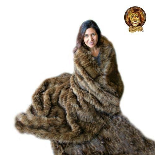Plush Faux Fur Throw Blanket Brown Lynx Minky Cuddle Fur Lining 5/' x 6/'