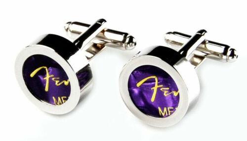 Purple Guitar Pick Cufflinks QHG3