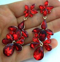 Red Austrian Crystal Chandelier Earrings Rhinestone Bridal Prom Pageant 3 Inch
