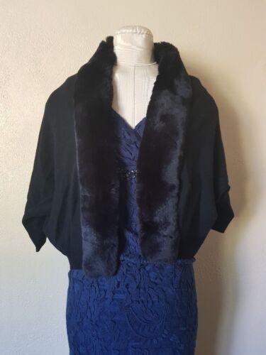 Nwt Knit Hayden Black Rabbit Bolero Cashmere Fur Rib 525 Trimmet r0r6q