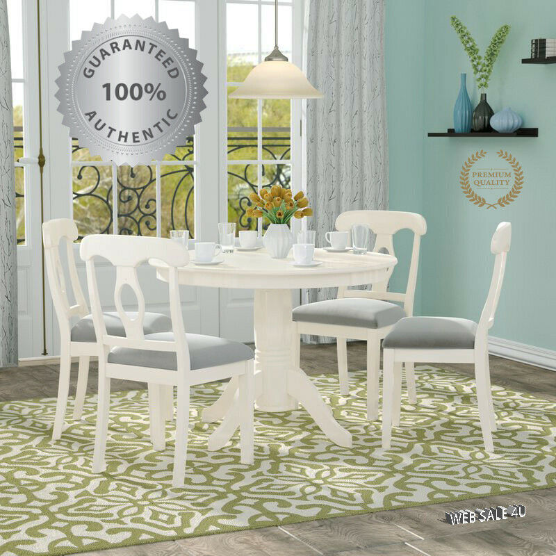 Farmhouse Dining Table Chairs Set 5 Piece White Solid Wood Round Top Country For Sale Online