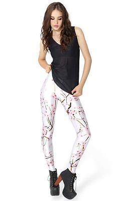 Women Fashion legging cherry blossom printed S-4XL legging elastic legging 3299