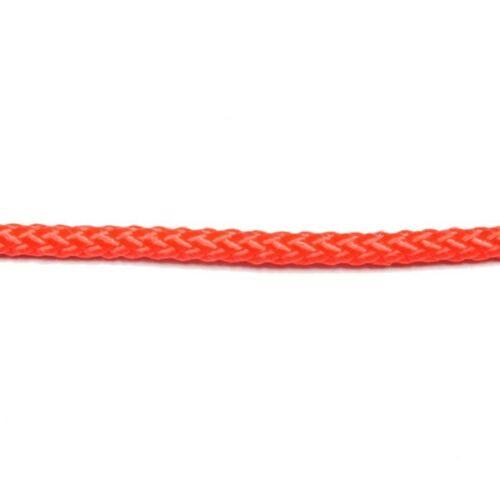 "1//8/"" Nylon Diamond Braid Rope Neon Orange 50 ft Made in USA 177-005"