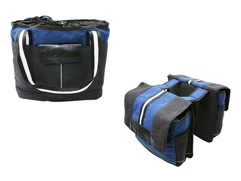 Panier et sacoches vélo NEWTON Vib black bluee jeans predège pluie bagages NEUF