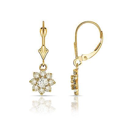 1Ct White Sapphire /& Ruby Flower Cluster Dangle Leverback Earrings 14K W Gold