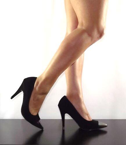 Womens Black Pointy Cap Toe Stiletto Faux Suede Elisa-01 High Heel Pump Size 7.5