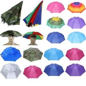 Umbrella-Hat-Headwear-Cap-Head-Hat-Handsfree-Elastic-Head-Band-Travel-Fishing-US